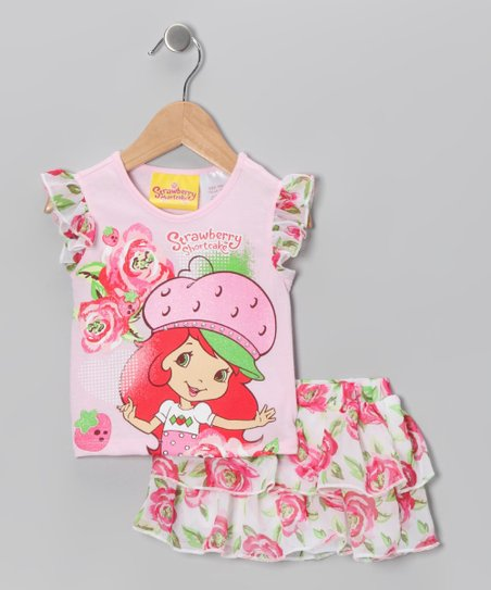 Pink Strawberry Rose Tee & Skort - Toddler & Girls