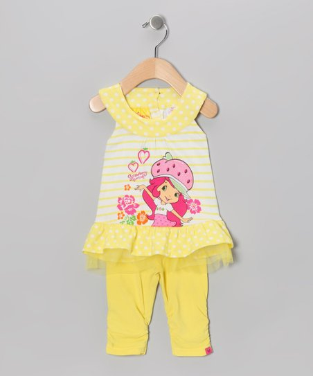 Yellow Strawberry Ruffle Yoke Top & Leggings - Infant
