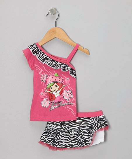 Pink Zebra Strawberry Shortcake Tank & Skirt - Infant, Toddler & Girls