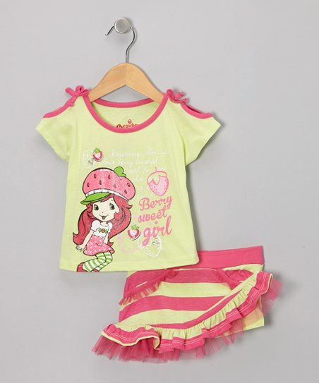 Green & Pink Strawberry Shortcake Tee & Skirt  - Infant, Toddler & Girls