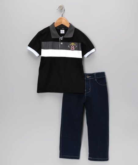 Gray Wing Stripe Polo &amp; Jeans - Infant, Toddler &amp; Boys