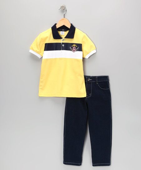 Yellow Wing Stripe Polo & Jeans - Infant, Toddler & Boys