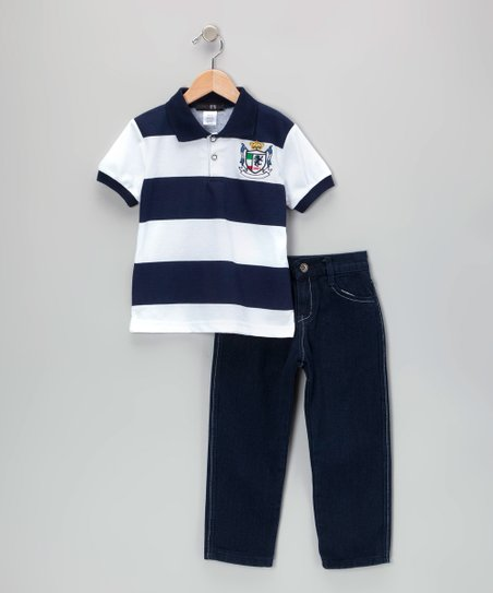 Navy Crown Stripe Polo & Jeans - Infant, Toddler & Boys