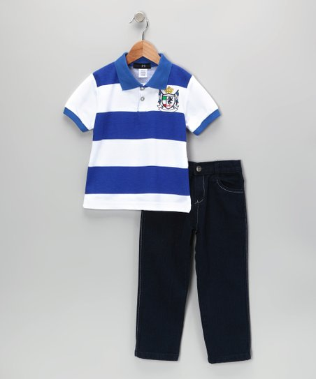 Royal Crown Stripe Polo & Jeans - Infant, Toddler & Boys