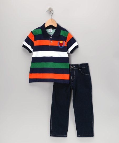 Navy & Orange Crown Stripe Polo & Jeans - Infant, Toddler & Boys
