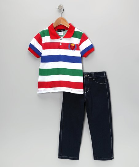 Red & Blue Crown Stripe Polo & Jeans - Infant, Toddler & Boys