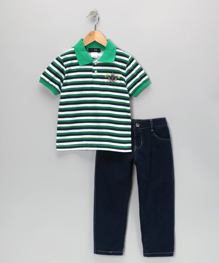 Green Flag Stripe Polo & Jeans - Infant, Toddler & Boys