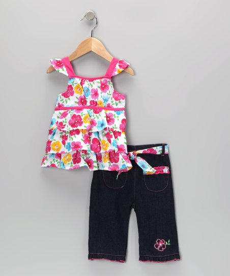Pink Floral Tiered Ruffle Tunic & Jeans - Infant & Toddler
