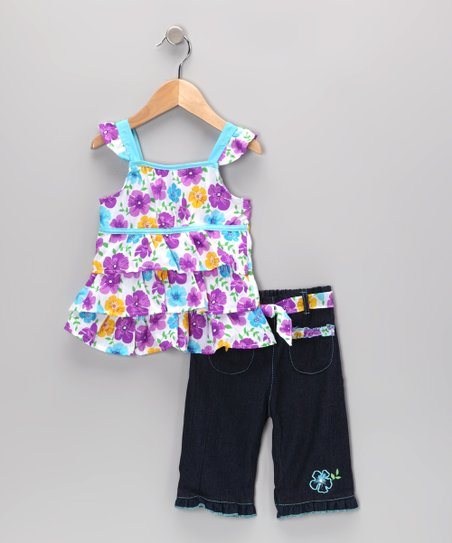Turquoise Floral Tiered Ruffle Tunic & Jeans - Infant & Toddler