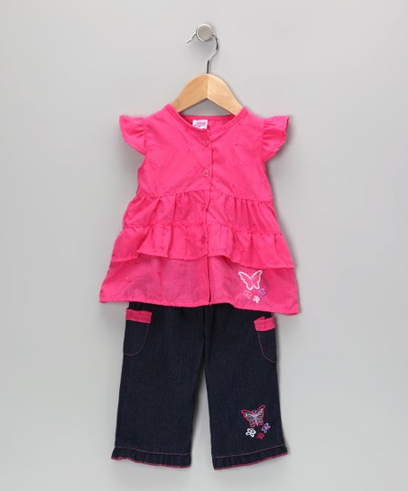 Pink Butterfly Tunic & Jeans - Infant & Toddler