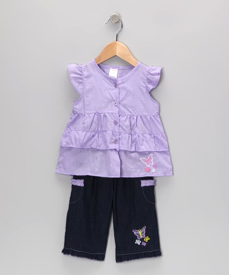 Purple Butterfly Tunic & Jeans - Infant & Toddler