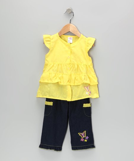 Yellow Butterfly Tunic & Jeans - Infant & Toddler