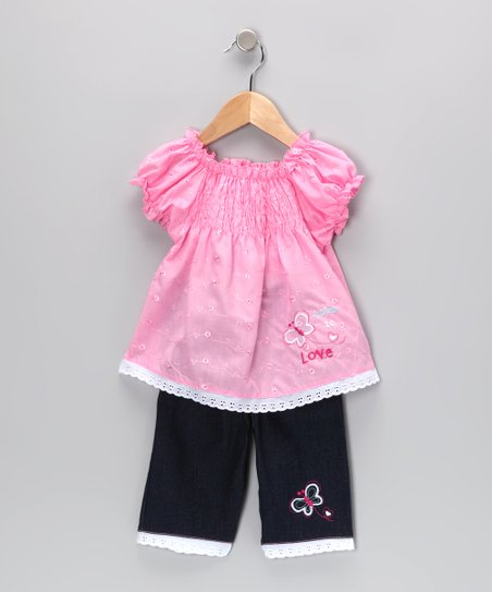 Pink Shirred Eyelet Tunic & Jeans - Infant & Toddler