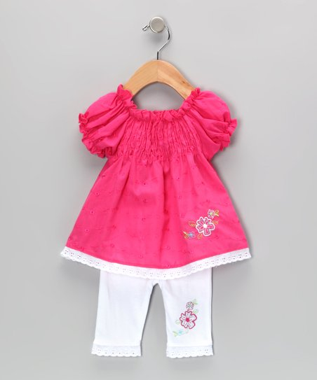 Hot Pink Shirred Eyelet Tunic & Leggings - Infant & Toddler
