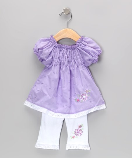 Purple Shirred Eyelet Tunic & Leggings - Infant & Toddler