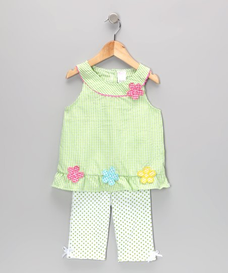 Green Gingham Flower Tunic & Leggings - Infant & Toddler