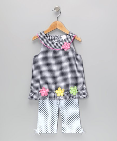 Navy Gingham Flower Tunic & Leggings - Infant & Toddler