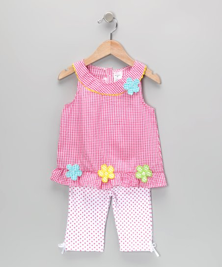 Pink Gingham Flower Tunic & Leggings - Infant & Toddler