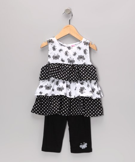 Black Butterfly Ruffle Tunic & Leggings - Toddler