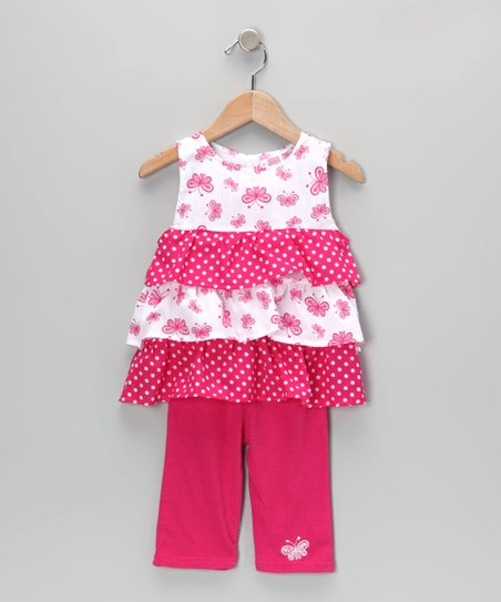 Pink Butterfly Ruffle Tunic & Leggings - Infant & Toddler