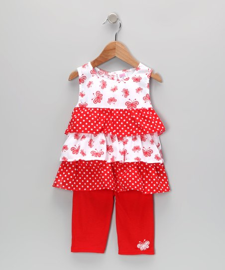 Red Butterfly Ruffle Tunic & Leggings - Infant