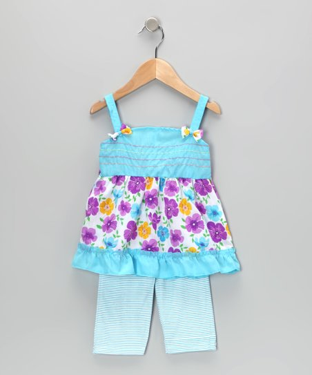 Blue Floral Tunic & Stripe Leggings - Infant & Toddler