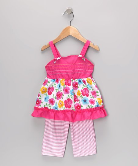 Pink Floral Tunic &amp; Stripe Leggings - Infant &amp; Toddler