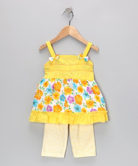 Yellow Floral Tunic & Stripe Leggings - Infant & Toddler