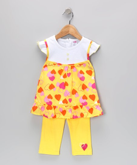 Yellow Heart Layered Tunic & Leggings - Infant & Toddler