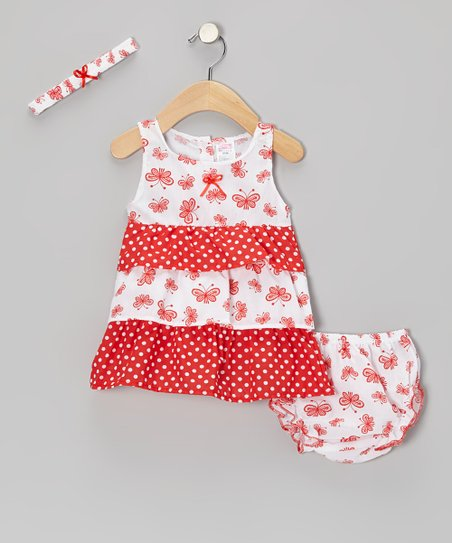 Red Butterfly Tier Ruffle Dress & Headband- Infant