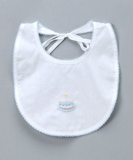 White &amp; Blue Birthday Bib