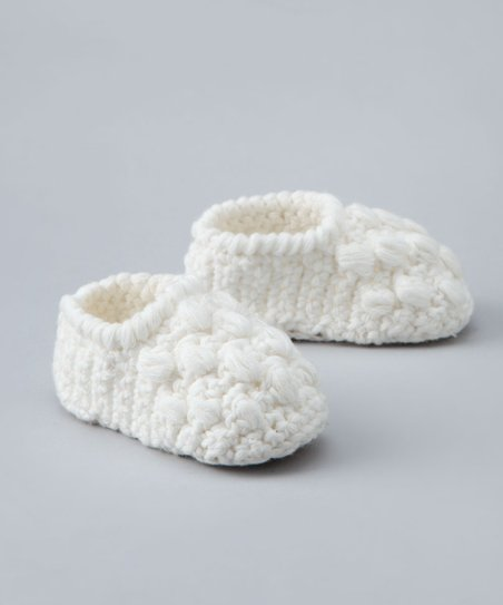 Cream Crocheted Bobble Booties