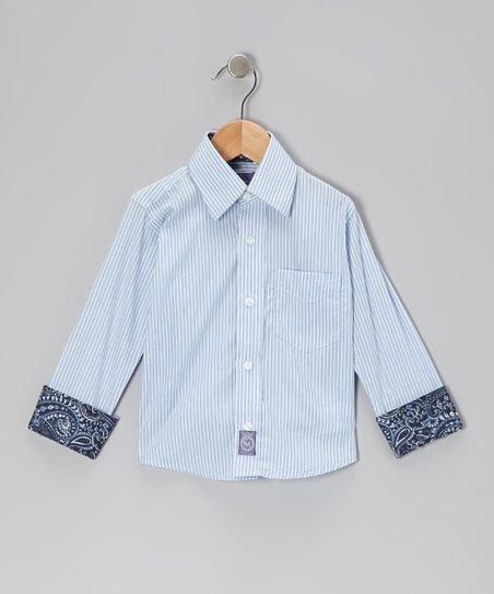 Light Blue Stripe Button-Up - Infant, Toddler & Boys