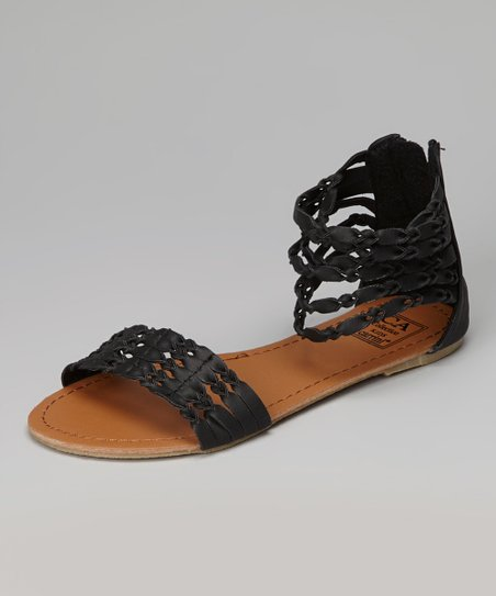Black Twisted Strap Gladiator Sandal