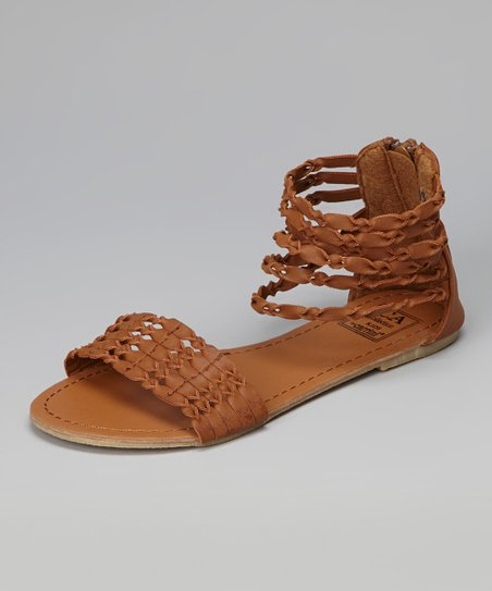 Tan Twisted Strap Gladiator Sandal