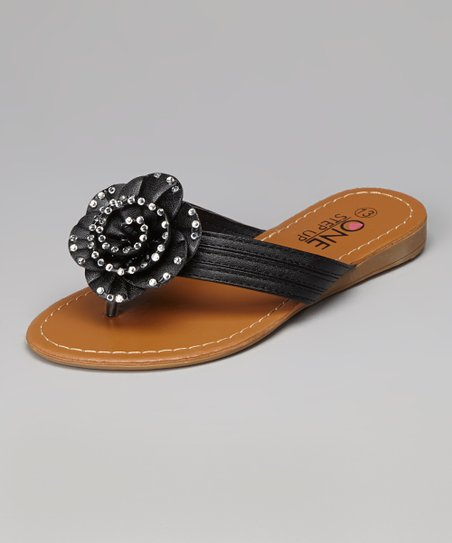 Black Sparkle Rose Sandal