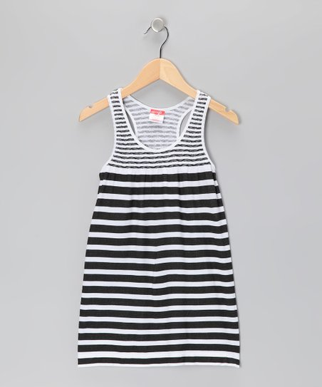 Black Stripe Racerback Dress - Toddler &amp; Girls