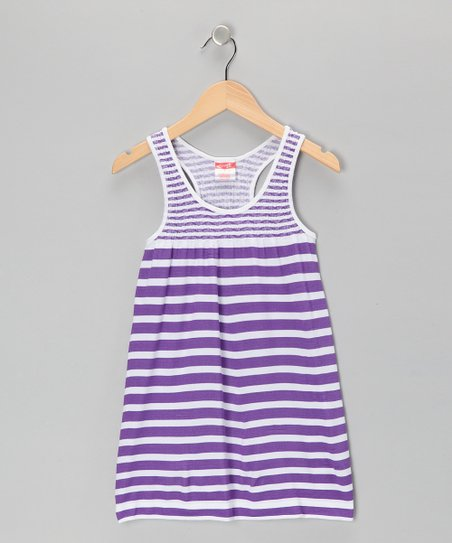 Purple Stripe Racerback Dress - Toddler & Girls