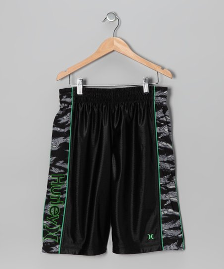 Black Camouflage Reversible Shorts - Toddler & Boys