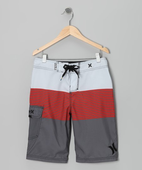 Red & Gray Blockade Boardshorts - Boys