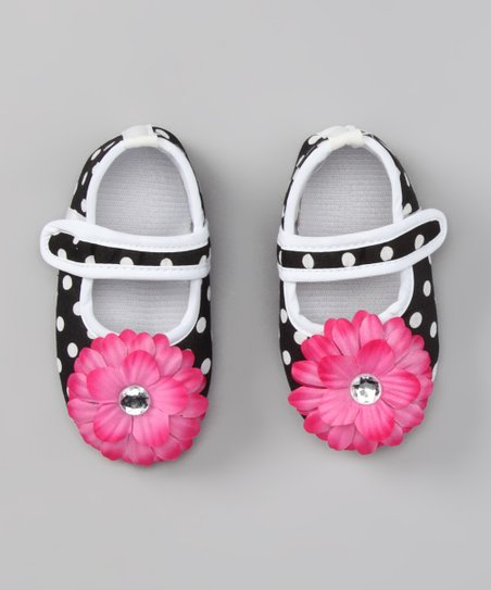Black & White Polka Dot Flower Flat
