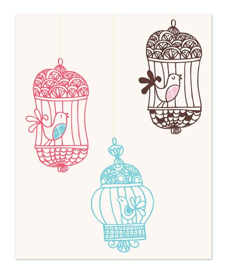 Pink & Chocolate Bird Cages Print