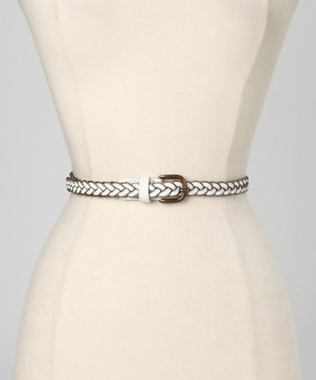 White Amber Leather Waist Belt