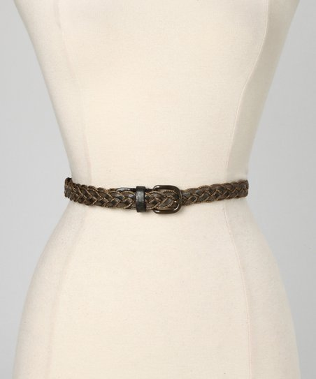 Gray Amber Leather Waist Belt