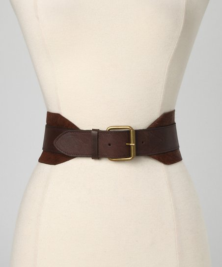 Chocolate Celline Leather Waist Belt