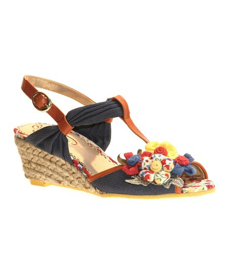 Red & Blue Hippie Goddess T-Strap Sandal