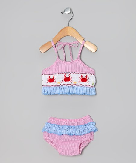 Pink & Blue Gingham Crab Sunsuit - Infant, Toddler & Girls