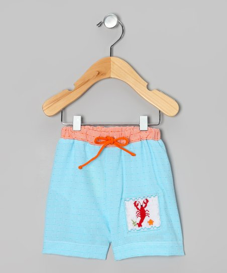 Blue & Orange Lobster Seersucker Shorts - Infant & Boys