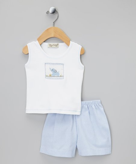 Blue & White Elephant Tank & Shorts - Infant