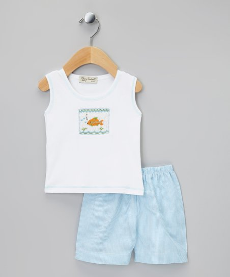 Turquoise & White Fish Tank & Shorts - Infant